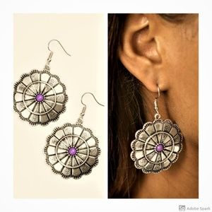 I'm No Wallflower - Purple & Silver Hook Earrings